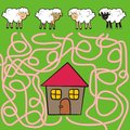 Sheep and ram labyrinth a game for children adults find your way into the house Royalty Free Stock Photography