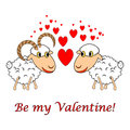 A sheep and a ram in love with text be my valentine valentines day postcard hearts vector art illustration on white Royalty Free Stock Image