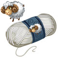 Sheep and roll of white wool thread. Vector