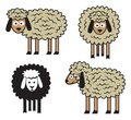Sheep set on white background Royalty Free Stock Photos