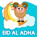 Sheep stands on the moon in the clouds. Muslim holiday Eid al-Adha.