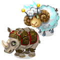 Sheep with transmitter on head and Rhino in armor