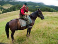 Sheepman a riding a horse from romania Royalty Free Stock Images