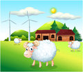 Sheeps at the farm with windmills illustration of Royalty Free Stock Images