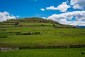 Sheeps on field grazing hills with beautiful blue sky and clouds Stock Photo