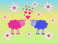 Sheeps in love two illusration Royalty Free Stock Images