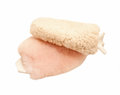Sheepskin mittens for finishing grooming horse Stock Photos