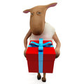 Sheepy giving present Royalty Free Stock Image