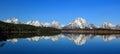 Grand Teton National Park, Wyoming, USA - Landscape Panorama of Mount Moran and Rocky Mountains reflected in Jackson Lake Royalty Free Stock Photo