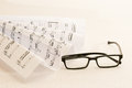 Sheet music an glasses Royalty Free Stock Photo