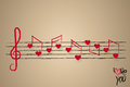 Sheet music with heart shaped musical notes Royalty Free Stock Photo