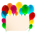 Sheet of paper decorated with balloons illustration Royalty Free Stock Photography