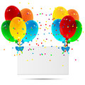 Sheet of paper decorated with balloons on a white background Stock Images