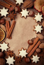 Sheet of paper for recipe christmas cookies nuts and spices top view Royalty Free Stock Images