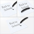 A sheet of paper with the words back to school Stock Images