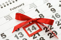 Sheet of wall calendar - Valentines Royalty Free Stock Photos