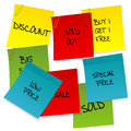 Sheets of paper with advertisements sale Royalty Free Stock Photo