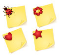 Sheets of paper with ladybug flower heart star for notes asterisk Royalty Free Stock Images