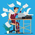 Sheets Of Paper From The Printer Scattering Around And On Frightened Manager Vector. Isolated Illustration