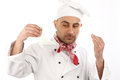 Shef portrait of a cook on white background Royalty Free Stock Image