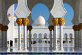 Sheikh zayed grand mosque abu dhabi is the largest in the uae it host majestic columns design of can be best described as a fusion Stock Photography