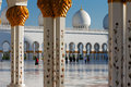 Sheikh zayed grand mosque abu dhabi is the largest in the uae and rd world it host majestic columns gold Royalty Free Stock Photos