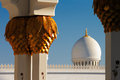 Sheikh zayed grand mosque abu dhabi is the largest in the uae and rd world it host majestic columns gold Stock Image