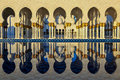 Sheikh zayed grand mosque reflection of pillars at abu dhabi Royalty Free Stock Photo