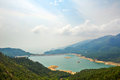Shek pik reservoir and clouds the photo was taken in lantau south country park hongkong china Stock Photo