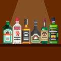 Shelf with alcohol