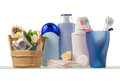 Shelf with bath accessories Royalty Free Stock Photo