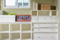 Shelf and drawer in white Royalty Free Stock Photography