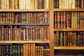 Shelf of old books bookstore library sale precious ancient in a used Royalty Free Stock Photo