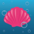 Shell cute on abstract sea background Stock Photo