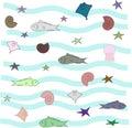 Set of shell, fish, starfish