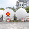 Shell fuel tanks with copy space Royalty Free Stock Image
