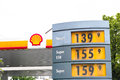 Shell gas prices station with copy space Royalty Free Stock Photos