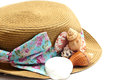 Shell on panama straw hat Stock Images