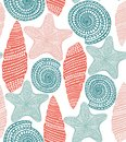 Shell and Starfish Pattern in Graphic Style Royalty Free Stock Photo
