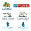 Shell vector design logo set Royalty Free Stock Photo