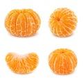 Shelled mandarin set isolated on white background