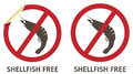 Shellfish free icons vector stickers and for allergen products Stock Photo