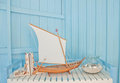Shellfish with wood boat decoration Royalty Free Stock Photos