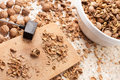 Shelling walnuts Royalty Free Stock Image