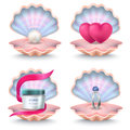 Shells with Face Cream, Pink Hearts, Wedding Ring Royalty Free Stock Photo