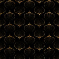 Shells gold seamless pattern. Modern art deco seashells texture. Royalty Free Stock Photo