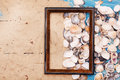 Shells and photo frame. Vocation background Royalty Free Stock Photo