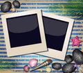 Shells and photos frame background with Stock Images