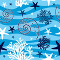 Shells and starfish seamless pattern Royalty Free Stock Photo