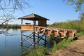 Shelter for birdwatching wooden on the pond in poodri czech republic Stock Photography